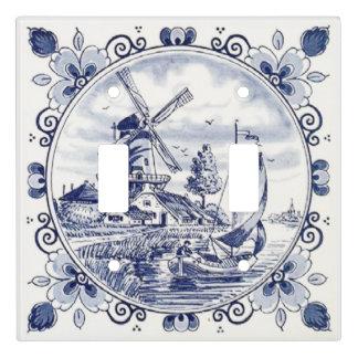 Azul holandés de Delft del velero del molino de Placa Para Interruptor