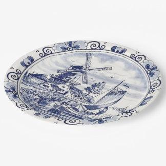 Azul holandés de Delft del velero del molino de Platos De Papel
