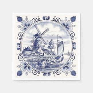 Azul holandés de Delft del velero del molino de Servilleta De Papel