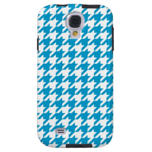 Azul Houndstooth de la aguamarina Funda Galaxy S4