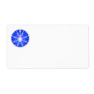 Azul ideal del colector del rosario etiqueta de envío