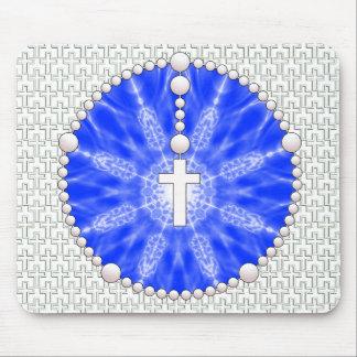 Azul ideal del colector del rosario mouse pads