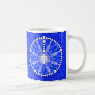Azul ideal del colector del rosario taza básica blanca