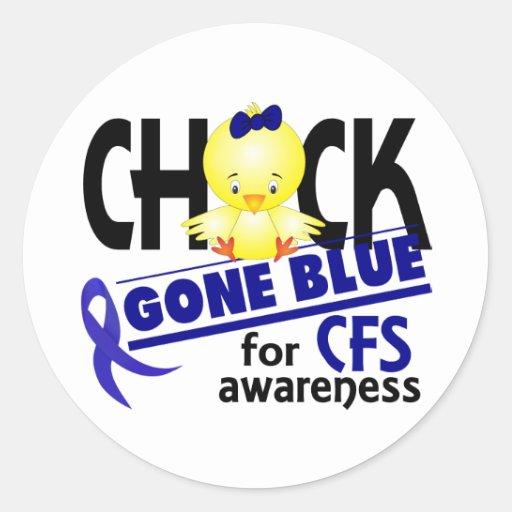 Azul ido polluelo para el síndrome crónico 2 del pegatinas redondas
