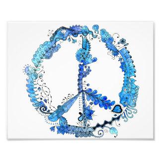 azul ilustrado 10x8 del signo de la paz del arte cojinete