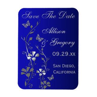 Azul, imán floral de la fecha de la reserva de la