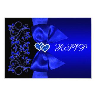 Azul IMPRESO de la CINTA, RSVP que se casa floral