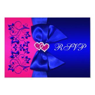 Azul IMPRESO de la CINTA, RSVP que se casa floral Invitación 8,9 X 12,7 Cm