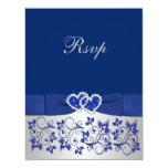 Azul IMPRESO de la CINTA, tarjeta de contestación Invitación 10,8 X 13,9 Cm