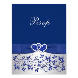 """Azul IMPRESO de la CINTA, tarjeta de contestación Invitación 4.25"""" X 5.5"""""""