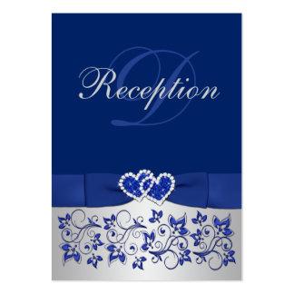 Azul IMPRESO de la CINTA tarjeta floral de plata