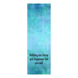 Azul inspirado de la cita de la felicidad de Emers Tarjetas De Visita Mini