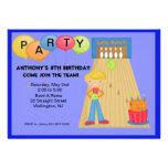Azul, invitación de la fiesta de cumpleaños que ru
