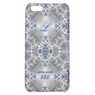 Azul + - Ip5 - caso floral de lujo de plata 5c