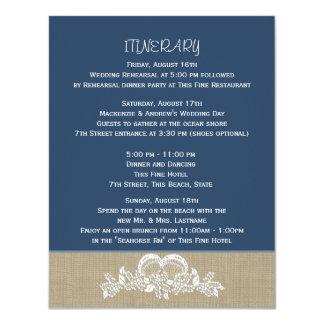 """Azul itinerario tropical del boda de playa de la invitación 4.25"""" x 5.5"""""""
