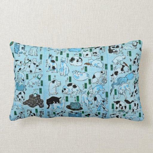 Azul japonés de la almohada de tiro de los gatos d