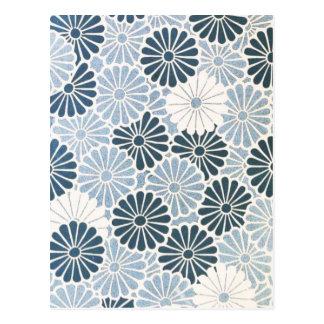 Azul japonés y blanco del crisantemo del vintage tarjeta postal