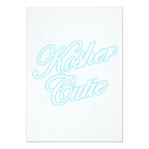 """azul kosher del lt del cutie invitación 5"""" x 7"""""""