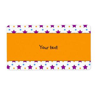 Azul, lila y diseño anaranjado de la estrella etiquetas de envío