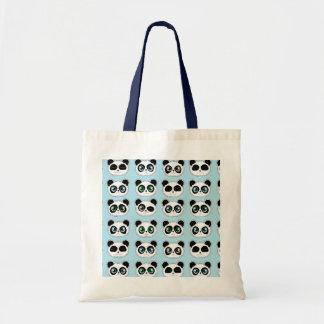 Azul lindo de la expresión de la panda bolsas lienzo