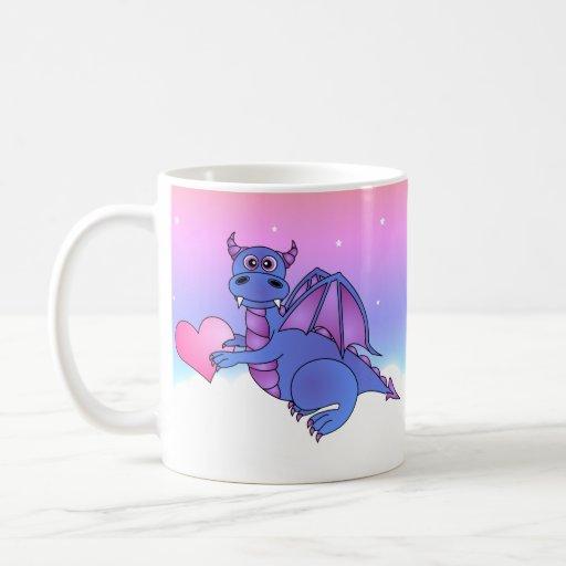 Azul lindo de la taza del corazón del dragón - ros