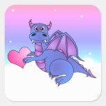 Azul lindo de los pegatinas del corazón del dragón calcomanía cuadrada