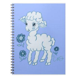 Azul lindo del cordero de Kawaii Cuadernos