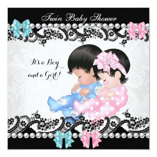 Azul lindo del muchacho del rosa del chica de la invitación 13,3 cm x 13,3cm