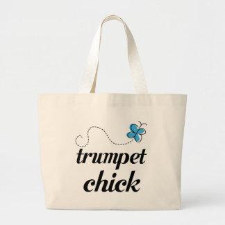 Azul lindo del polluelo de la trompeta bolsa de tela grande