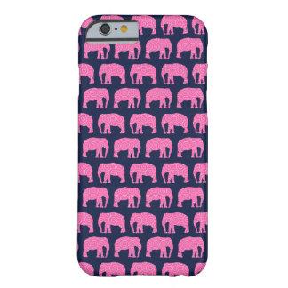 Azul lindo del rosa del modelo del elefante del funda de iPhone 6 barely there