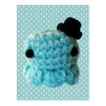 Azul lindo del sombrero de copa del pulpo de Amigu Tarjetas Postales
