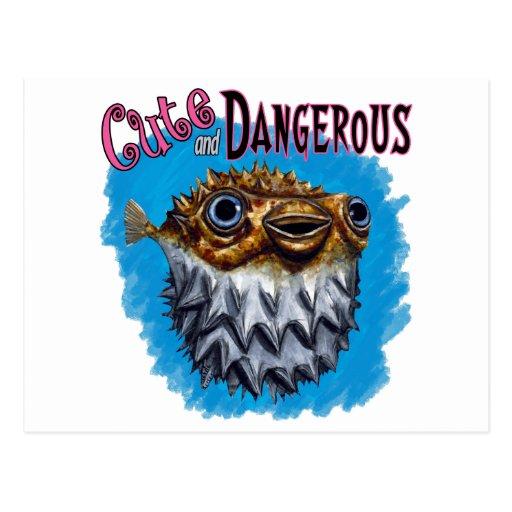 Azul lindo y peligroso de los pescados del fumador tarjeta postal