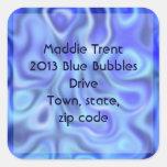 azul líquido pegatina cuadradas personalizada