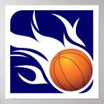 Azul llameante y blanco del baloncesto posters