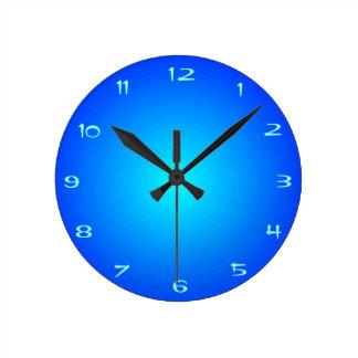 Azul llano del Aqua/iluminado > relojes de la coci