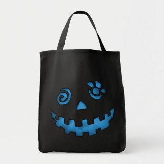 Azul loco de la cara de la calabaza de la linterna bolsa