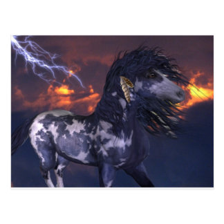 Azul loco del caballo tarjetas postales