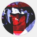 azul loco pegatina redonda