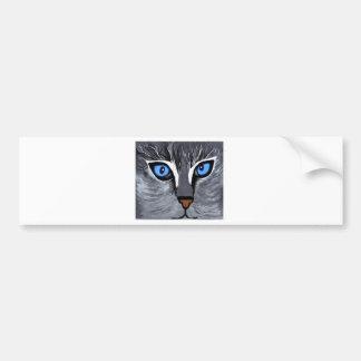 azul magnífico de los ojos de gato pegatina de parachoque