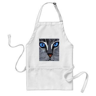 azul magnífico de los ojos de gato delantal
