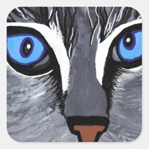 azul magnífico de los ojos de gato calcomanías cuadradass personalizadas