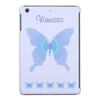 Azul maravilloso de la mariposa de la paz en la fundas de iPad mini retina