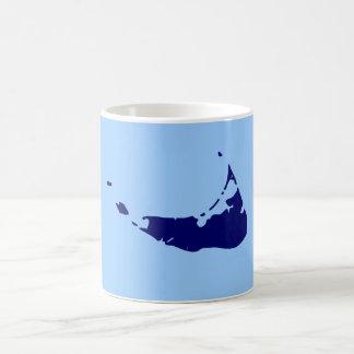 Azul/marina de guerra Nantucket Taza Básica Blanca