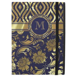 Azul marino con damascos del oro y el modelo