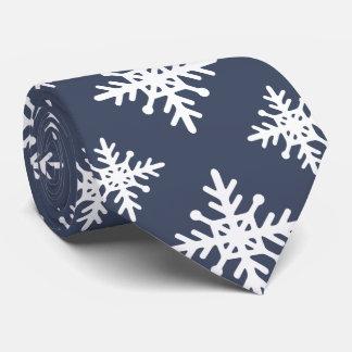 Azul marino con los copos de nieve corbatas personalizadas