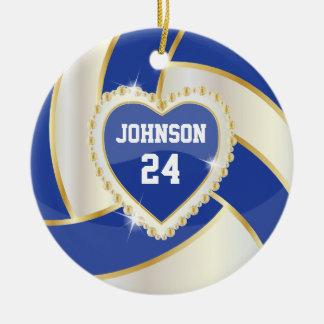 Azul marino elegante, blanco y voleibol del oro adorno navideño redondo de cerámica