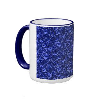 Azul marino floral plumoso del vintage taza