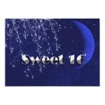 Azul marino, luna y dulce dieciséis de las invitación 12,7 x 17,8 cm