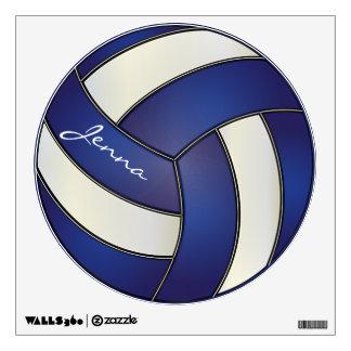 Azul marino y blanco personalice el voleibol