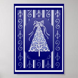 Azul marino y blanco remolina el árbol de navidad póster
